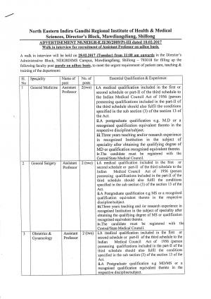 NEIGRIHMS Recruitment 2017 for 10 Faculty Posts
