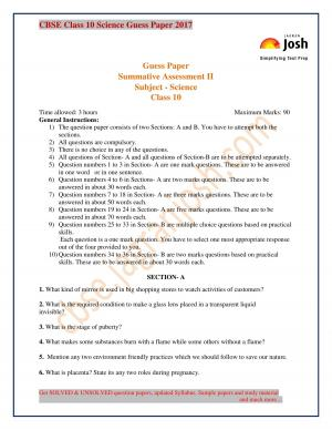 class 10 sci. unsolved guess paper 2017