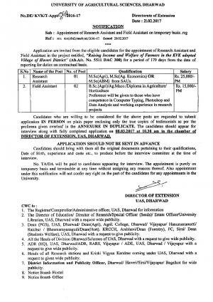 UAS, Dharwad Recruitment 2017 for 03 Research Assistant and Field Assistant Posts