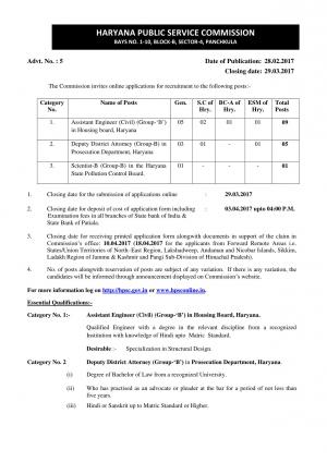 HPSC Recruitment 2017 for 15 Assistant Engineer, Scientists and Other Posts