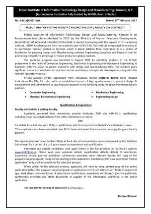 IIITDM, Kurnool Recruitment 2017 for 04 Visiting Faculty Posts