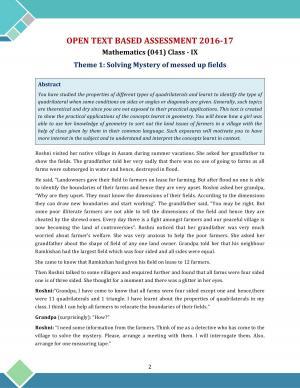 CBSE Class 9 OTBA Solutions Maths 2017