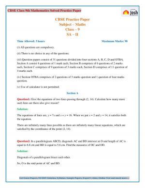 CBSE Class 9 Maths Solved Paper 2017 SA 2 Set VIII