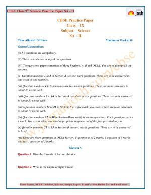 CBSE Class 9 Science SA 2 Pracitce Paper Set XIII
