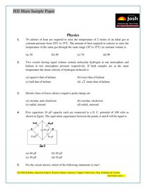 JEE Main Sample Paper Set 11 Physics Questions