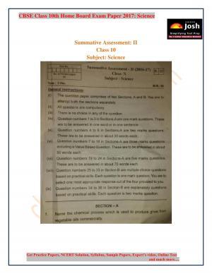 class 10 science KV exam paper 2017