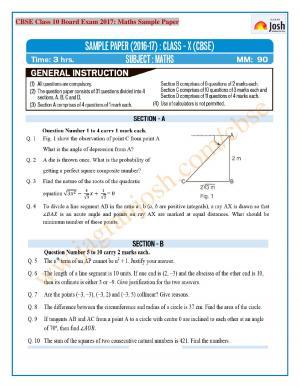 CBSE Class 10 SA 2 Maths Sample Paper 2017