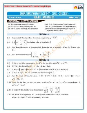 CBSE Class 12 Mathematics Sample Paper 2017