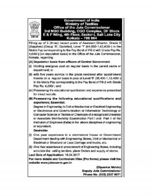 Ministry of Textiles Recruitment 2017 for 3 Assistant Director Posts