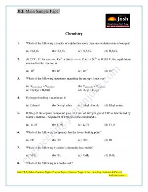 JEE Main Sample Paper Set 11 Chemistry Questions