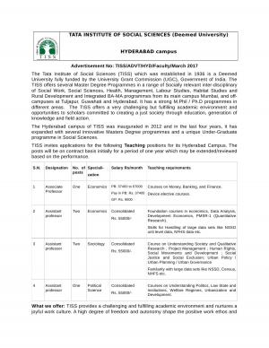TISS Recruitment 2017 for 06 Faculty Posts