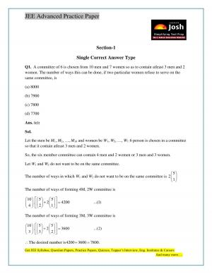 IIT JEE Advanced Paper 1 Solved Mathematics Paper Set X