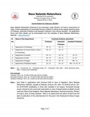 Nava Nalanda Mahavihara Recruitment 2017 for 17 Faculty Posts