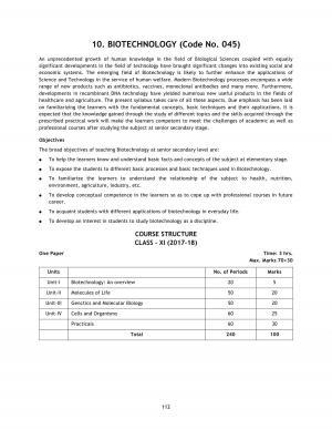 CBSE Class 11 Biotechnology Syllabus 2017 - 2018