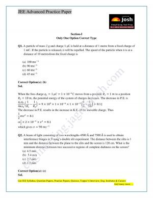 IIT JEE Advanced Paper 2 Solved Physics Paper Set X