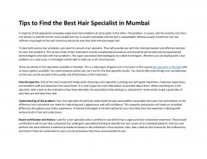 Tips to Find the Best Hair Specialist in Mumbai