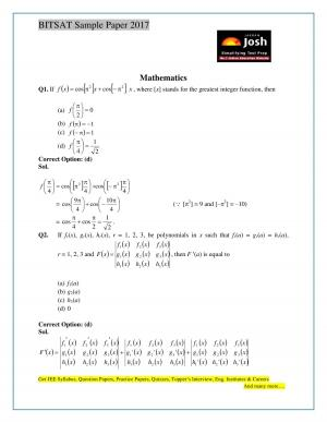 BITSAT Mathematics Solved Sample Question Paper Set-1