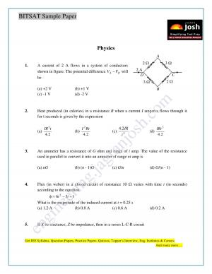 BITSAT Physics Solved Sample Question Paper Set-1