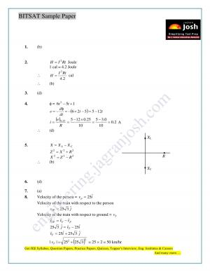 BITSAT Physics Solved Sample Solution Paper Set-1