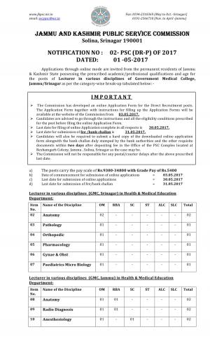 JKPSC Recruitment 2017 for 27 Lecturer Posts