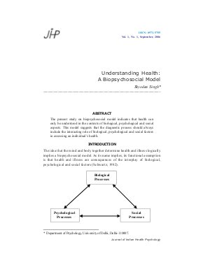 Understanding Health: A Biopsychosocial Model by Shyodan Singh  - Read on ipad, iphone, smart phone and tablets.
