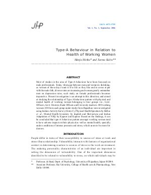Type-A Behaviour in Relation to Health of Working Women by Manju Mehta and Seema Kalra