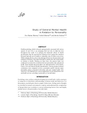 Study of General Mental Health in Relation to Personality by Nov Rattan Sharma, Ashok Sharma and Amrita Yadava