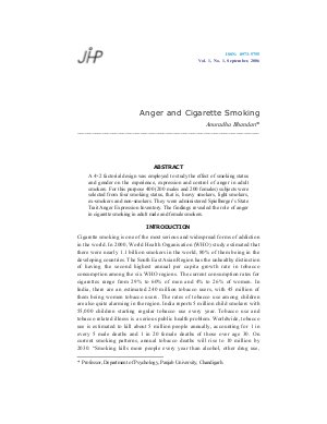 Anger and Cigarette Smoking by Anuradha Bhandari
