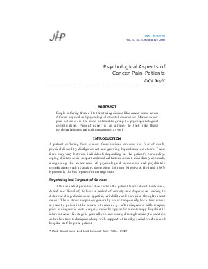 Psychological Aspects of Cancer Pain Patients by Baljit Singh - Read on ipad, iphone, smart phone and tablets