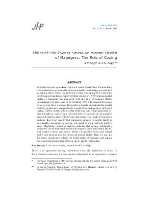 Effect of Life Events Stress on Mental Health of Managers: The Role of Coping by A.P. Singh & A.K. Singh
