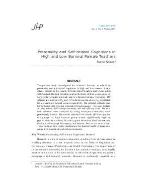 Personality and Self-related Cognitions in High and Low Burnout Female Teachers by Meena Kumari