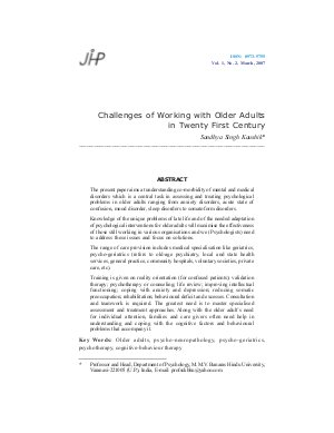 Challenges of Working with Older Adults in Twenty First Century by Sandhya Singh Kaushik