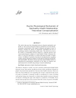 Psycho-Physiological Mechanism of Spirituality-Health Relationship: Theoretical Conceptualisation by A. K. Srivastava and A. Krishna