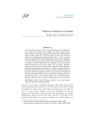 Positive Predictors of Health by Shyodan Singh and Rekha Pareek - Read on ipad, iphone, smart phone and tablets.