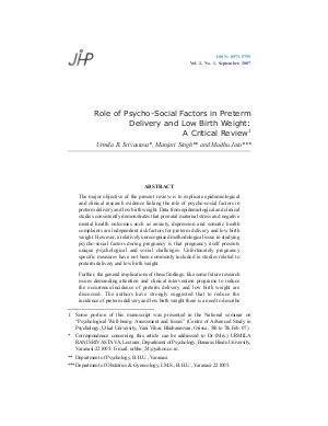Role of Psycho-Social Factors in Preterm Delivery and Low Birth Weight: A Critical Review by Urmila R. Srivastava, Manjari Singh and Madhu Jain