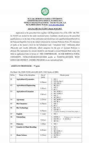Dr. YSRHU Recruitment 2017 for 77 Assistant Professors Posts