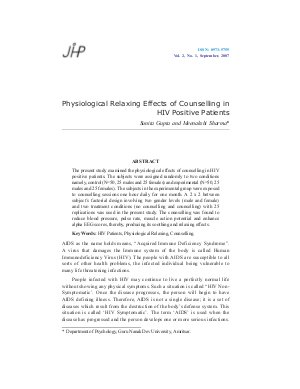 Physiological Relaxing Effects of Counselling in HIV Positive Patients by Sunita Gupta and Meenakshi Sharma - Read on ipad, iphone, smart phone and tablets