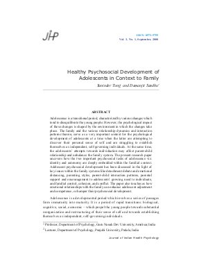 Healthy Psychosocial Development of Adolescents in Context to Family by Suninder Tung and Damanjit Sandhu - Read on ipad, iphone, smart phone and tablets