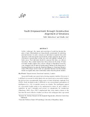 Youth Empowerment through Constructive Alignment of Emotions by Nidhi Maheshwari and Madhu Jain - Read on ipad, iphone, smart phone and tablets