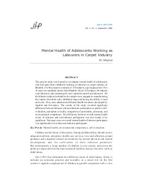 Mental Health of Adolescents Working as Labourers in Carpet Industry by M. Ghufran