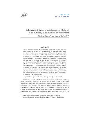 Adjustment Among Adolescents: Role of Self Efficacy and Family Environment by Mandeep Sharma and Hardeep Lal Joshi - Read on ipad, iphone, smart phone and tablets