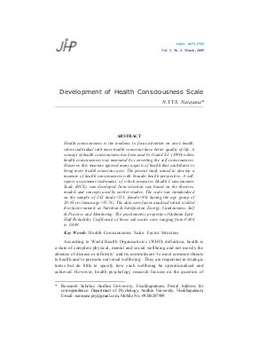 Development of Health Consciousness Scale by N.V.V.S. Narayana