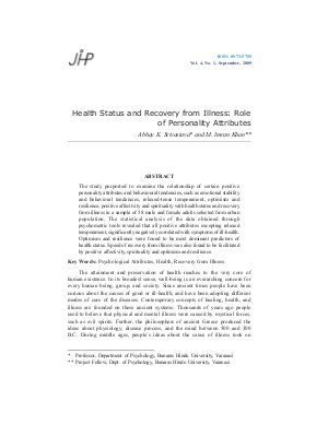 Health Status and Recovery from Illness: Role of Personality Attributes by Abhay K. Srivastava and M. Imran Khan - Read on ipad, iphone, smart phone and tablets