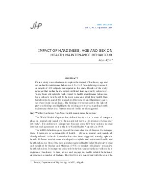 IMPACT OF HARDINESS, AGE AND SEX ON HEALTH MAINTENANCE BEHAVIOUR by Asiya Aijaz