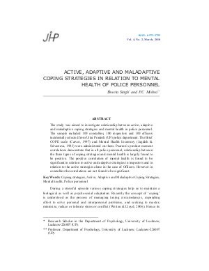 ACTIVE, ADAPTIVE AND MALADAPTIVE COPING STRATEGIES IN RELATION TO MENTAL HEALTH OF POLICE PERSONNEL by Shweta Singh and P.C. Mishra - Read on ipad, iphone, smart phone and tablets
