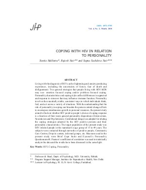 COPING WITH HIV IN RELATION TO PERSONALITY by Sunita Malhotra, Rajesh Nair and Sapna Sachdeva Nair