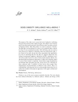 DOES OBESITY INFLUENCE WELL-BEING ? by H. S. Asthana, Sunita Asthana, and P. D. Bhatt