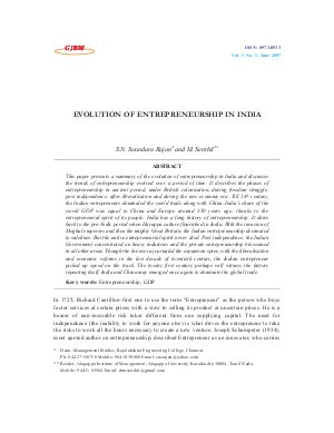 EVOLUTION OF ENTREPRENEURSHIP IN INDIA by S.N. Soundara Rajan and M. Senthil