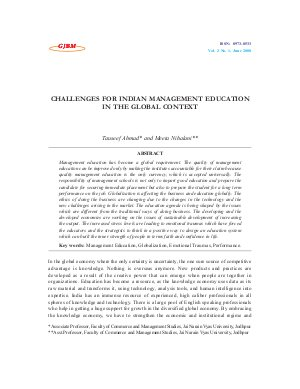 CHALLENGES FOR INDIAN MANAGEMENT EDUCATION IN THE GLOBAL CONTEXT by Tauseef Ahmad and Meeta Nihalani
