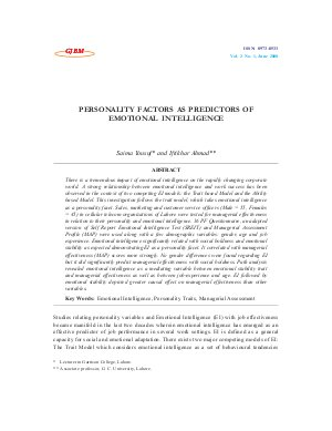 PERSONALITY FACTORS AS PREDICTORS OF EMOTIONAL INTELLIGENCE by Saima Yousuf and Iftikhar Ahmad - Read on ipad, iphone, smart phone and tablets